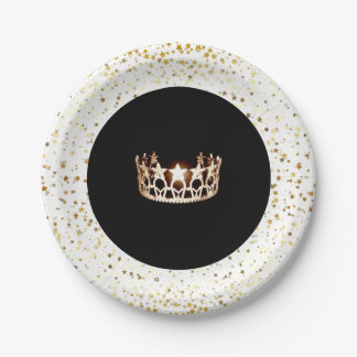 Miss USA Crown Party Paper Plates-Gold Stars White Paper Plate