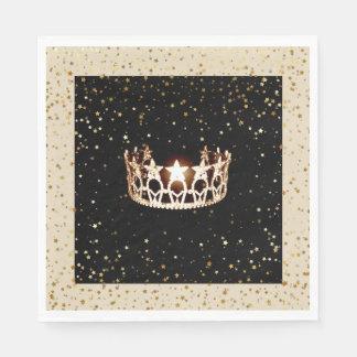 Miss USA Gold Crown Gold Stars Paper Napkin