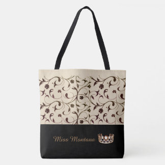 Miss USA Gold Crown Tote Bag Beige & Brown Scrolls