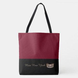 Miss USA Gold Crown Tote Bag-LRGE Crimson