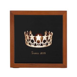 Miss USA Gold Crown Wood Desk Organizer-Since Desk Organizer