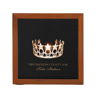 Miss USA Gold Crown Wood Desk Organizer-Title Desk Organizer