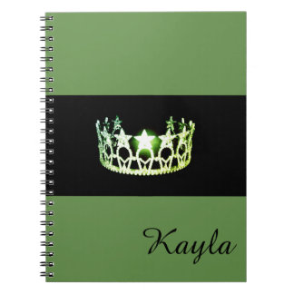 Miss USA Green Crown Notebook- Custom Name Notebook