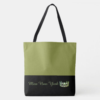 Miss USA Green Crown Tote Bag-LRGE Olive