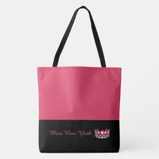 Miss USA Hot Pink Crown Tote Bag-Large Geranium