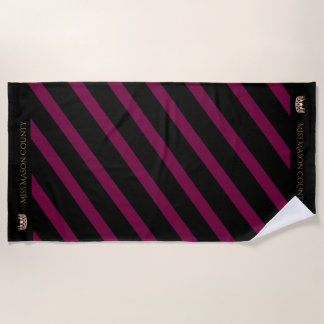 Miss USA Merlot Wine Stripe Crown Beach Towel
