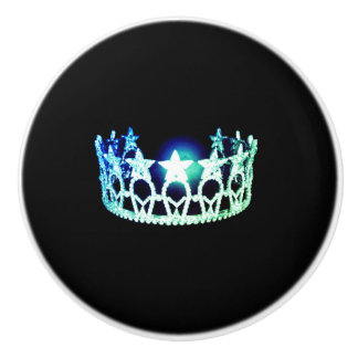 Miss USA Mint Crown Ceramic Cabinet Knob
