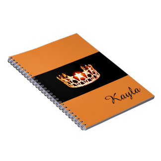 Miss USA Orange Crown Notebook- Custom Name Spiral Note Books