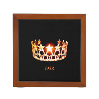 Miss USA Orange Crown Wood Desk Organizer-Date Desk Organizer