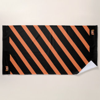 Miss USA Orange Stripe Teal Crown Beach Towel