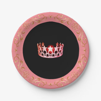 "Miss USA Pink-Coral  Crown 7"" Paper Plates"