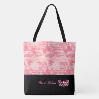 Miss USA Pink Crown Tote Bag LRGE Pink Camo