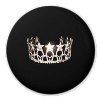 Miss USA Silver Crown Ceramic Cabinet Knob