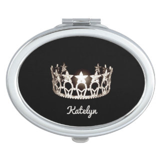Miss USA Silver Crown Compact Mirror-Name Travel Mirror