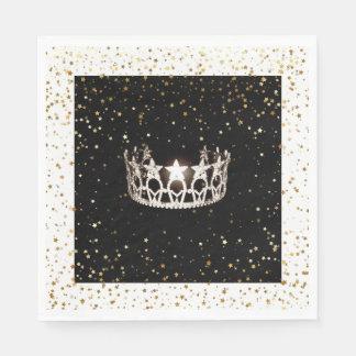Miss USA Silver Crown Gold Stars Paper Napkin