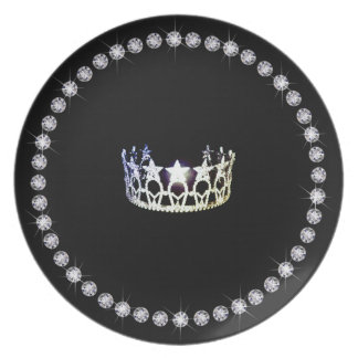 Miss USA Silver Crown Plastic Plates