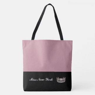 Miss USA Silver Crown Tote Bag-LRGE Mauve