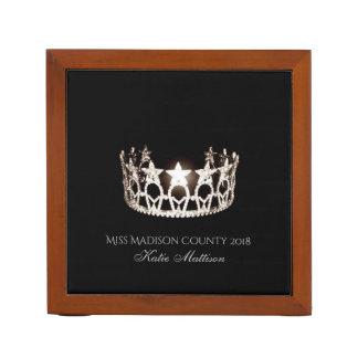 Miss USA SLVR Crown Wood Desk Organizer-Title Desk Organizer