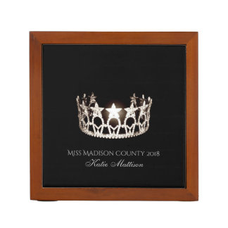 Miss USA SLVR Crown Wood Desk Organizer-Title Desk Organizer