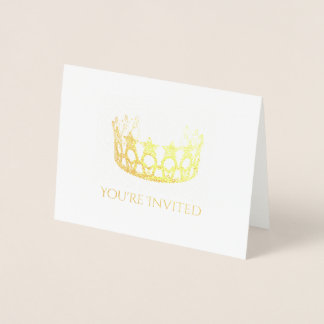 Miss USA Style Gold Foil Crown Invitation Card-Sm