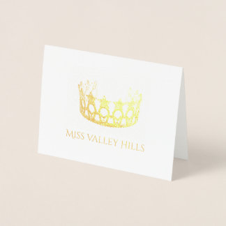 Miss USA Style Gold Foil Crown Note Card-Sm Foil Card
