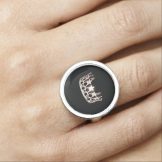 Miss USA style Silver Crown Ring
