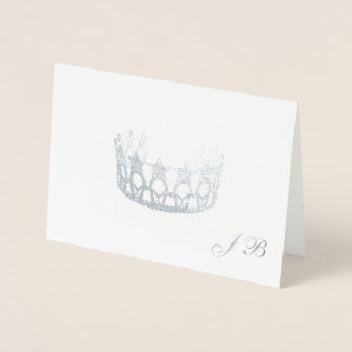 Miss USA Style Silver Foil Crown & Monogram Card