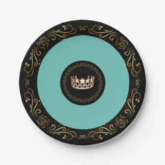 """Miss USA Turquoise Gold Crown 7"""" Paper Plates"""