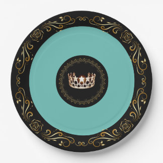 """Miss USA Turquoise Gold Crown 9"""" Paper Plates"""