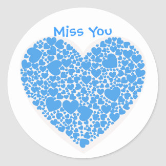 Miss You, blue and white hearts Round Sticker