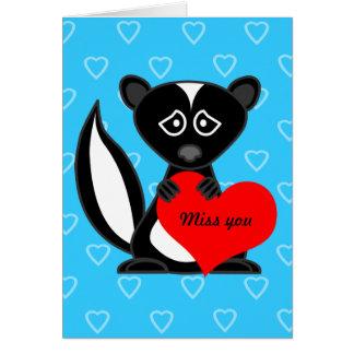 Miss You Card - Cute Cartoon Skunk Holding Heart