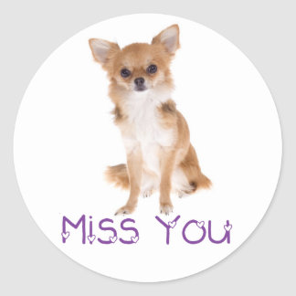 Miss You Chihuahua Puppy Dog Thinking of You Love Round Sticker