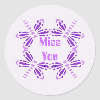 Miss you, dragonflies in purple & mauve round sticker