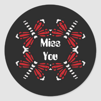 Miss you, dragonflies in red & white on black round sticker