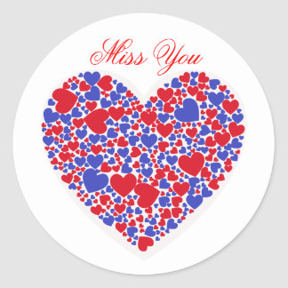 Miss You, red and blue hearts Round Sticker