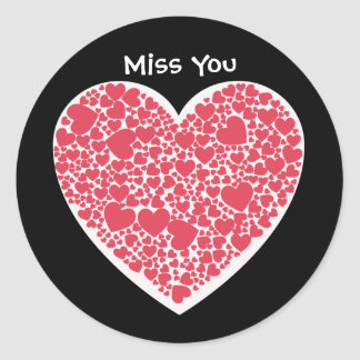 Miss You, red and white hearts Round Sticker