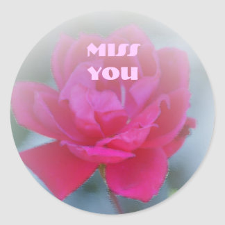 Miss You, Red rose painting Round Sticker