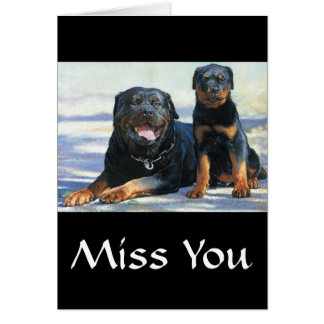Miss You Rottweiler Mom & Puppy Dog Greeting Card