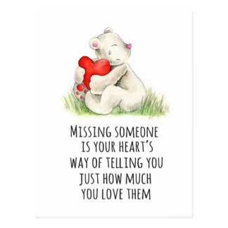 Miss you teddy bear quote postcard