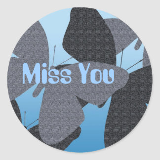 Miss you with butterflies in blue round sticker