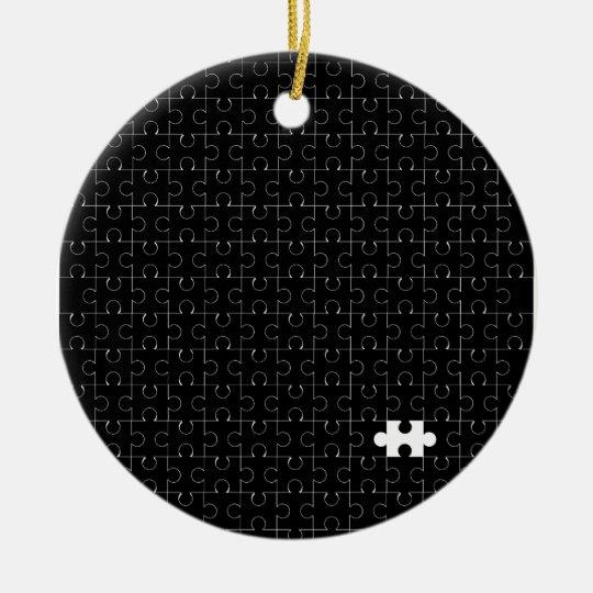 Missing Piece Round Ceramic Ornament