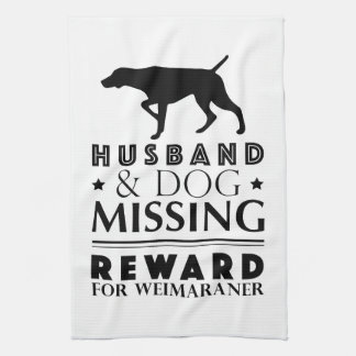 MISSING WEIMARANER KITCHEN TOWEL 16x24 WHITE