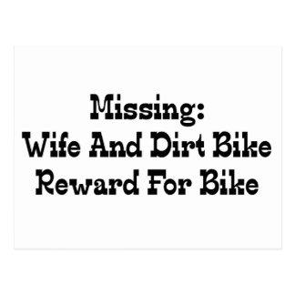 Missing Wife And Dirt Bike Reward For Bike Postcard