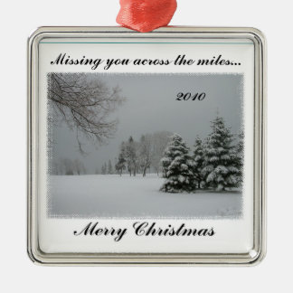 Missing You Across the Miles-Merry Christmas Silver-Colored Square Ornament