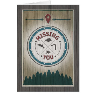 Missing You at Camp, Rustic Wood Graphics Card