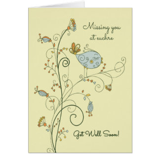 Missing You at Euchre-Get Well Soon Card