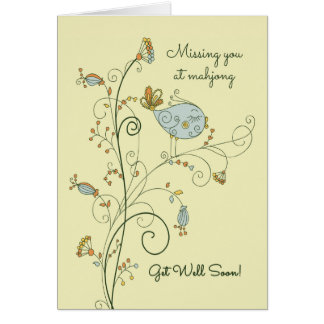 Missing You at Mahjong-Get Well Soon Card