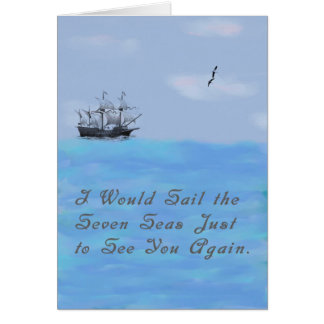 Missing You Card with Ship and Seas