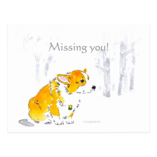 Missing You Corgi Postcard
