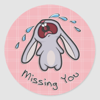 Missing You - Crying Bunny Sticker